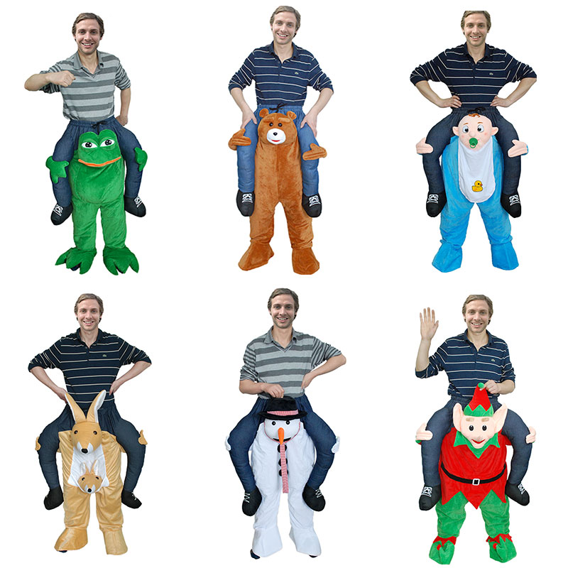 Mens Halloween Party Ride On Me Shoulder Costume Adult Unisex Mascot Costume Funny Fancy Dress 12 Animal  Pants With Human Leg