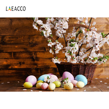 Laeacco Easter Eggs Flowers Planks Wooden Board Photography Backgrounds Customized Photographic Backdrops For Photo Studio