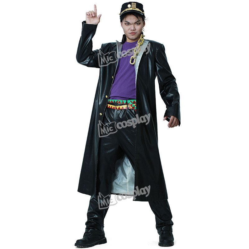 Jotaro Kujo Leather Cosplay Costumes Anime JoJo s Bizarre Adventure Halloween Party Men Clothing