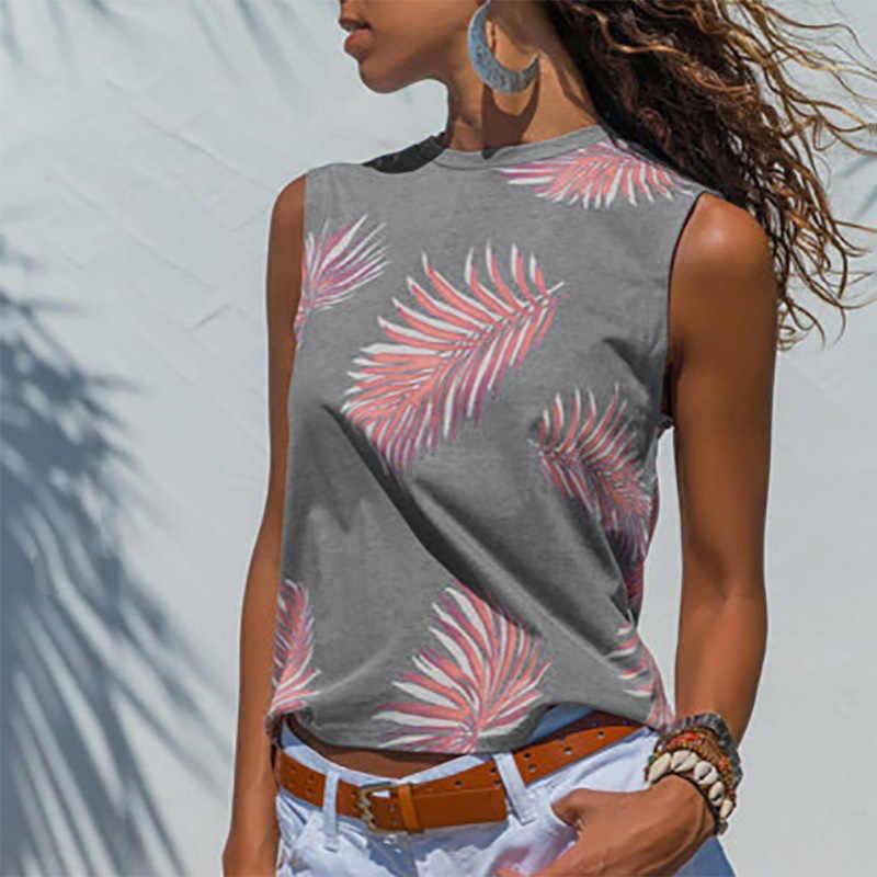 여자의 o-넥 리프 인쇄 민소매 t-셔츠 탑 플러스 크기 5XL 여름 탱크 TShirt 여자 2020 패션 캐주얼 여성 의류