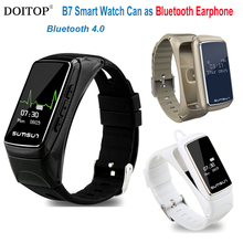 DOITOP Bluetooth Earphone Smart Watch Sport Bracelet Wristband Heart Rate Monitor Actively Fitness Tracker for IOS Android