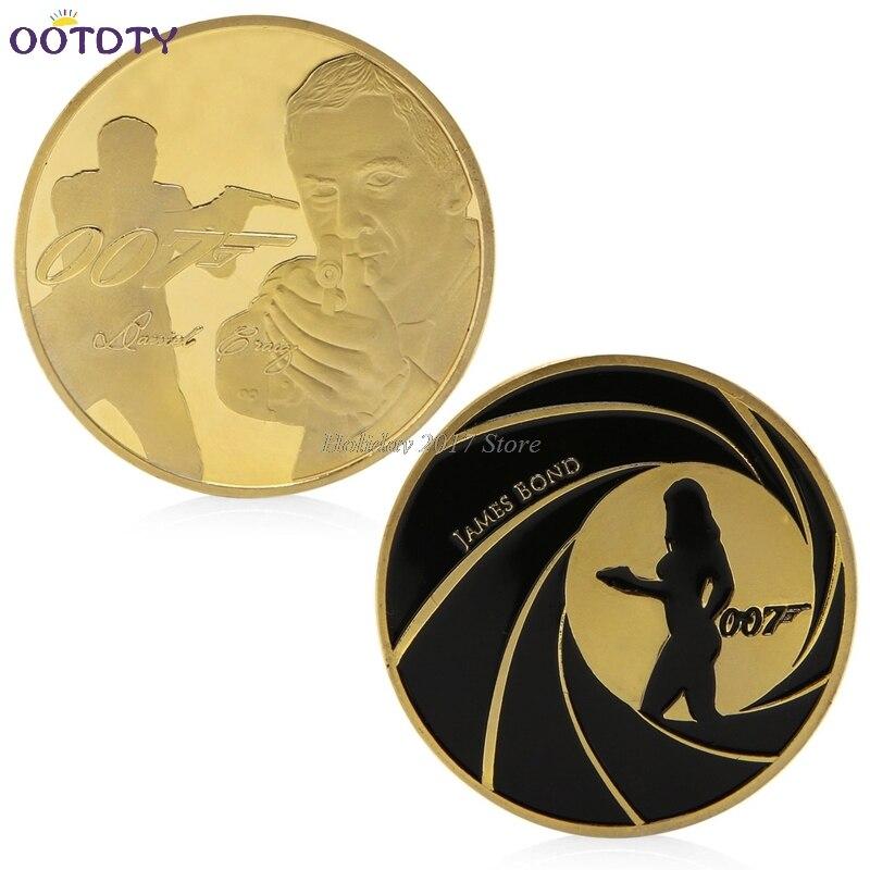2017 James Bond 007 Gold Plated Commemorative Challenge Coin Collection Souvenir Art Jun20_25