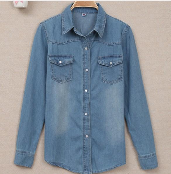 dans marché décontracté femme chemise chine en manches long de Jean turn down moyen slim Shirt 2015 vêtements col 2015 base chemise à longues Jean bon la xq8wnR4AzF