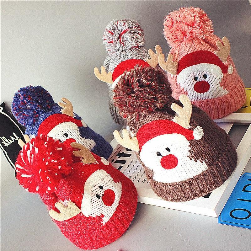 Babies lovely Santa Beanies Knitted Hats Winter Warm Fleece Crochet Beanie Hats Pompon Kids Children Christmas Headwear Hat Caps
