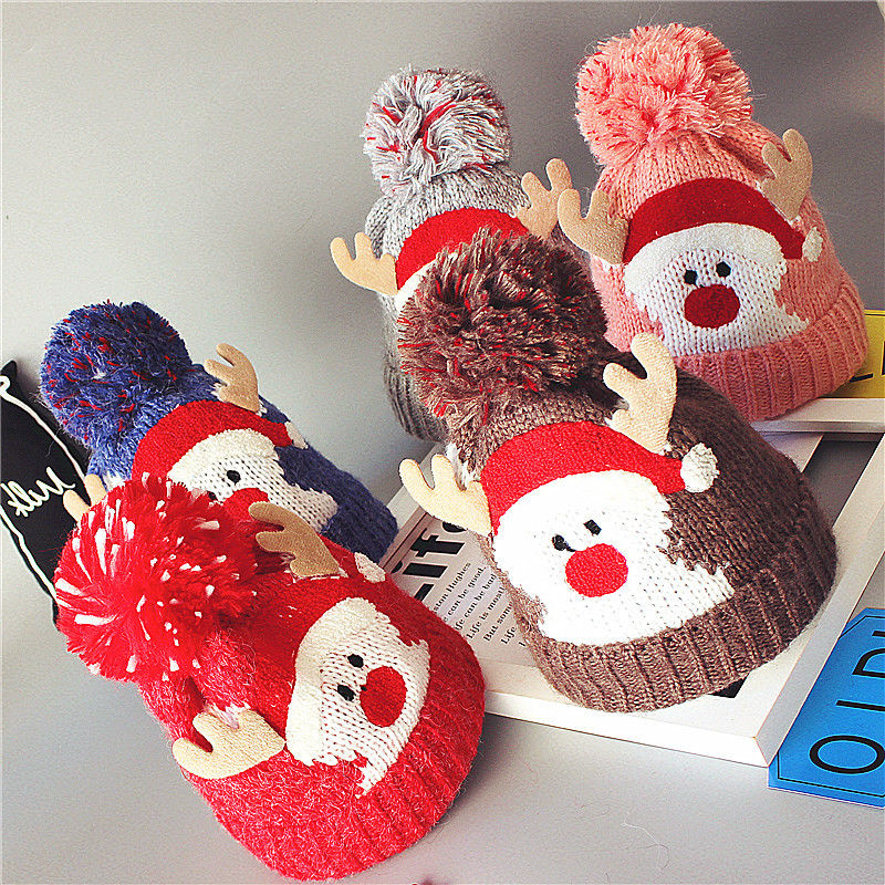 Babies lovely Santa   Beanies   Knitted Hats Winter Warm Fleece Crochet   Beanie   Hats Pompon Kids Children Christmas Headwear Hat Caps