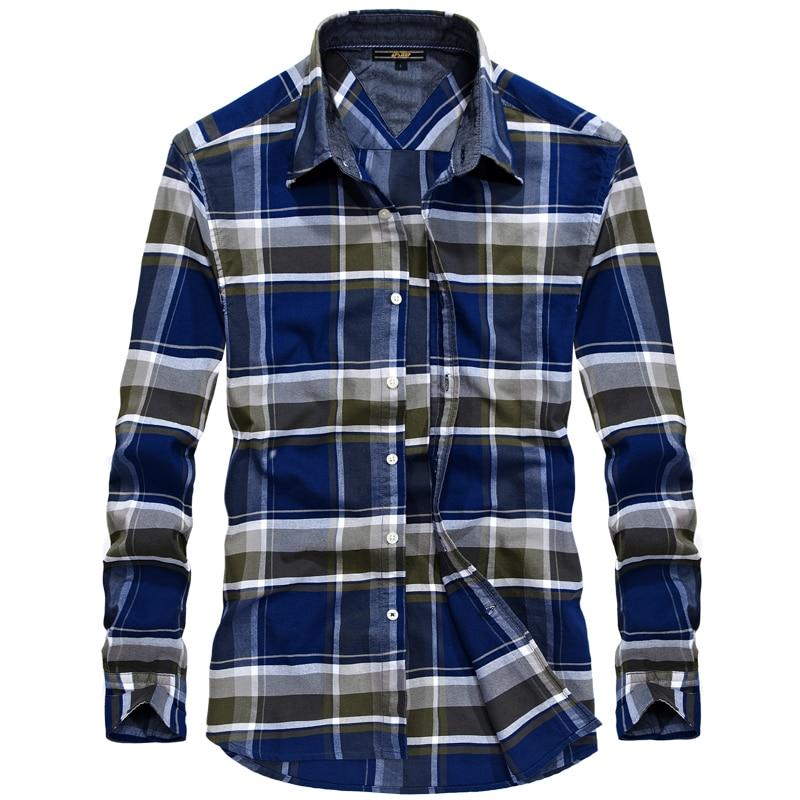 d40d7de14a5f7 Nianjeep 100% Cotton Long Sleeve Men Casual Shirts Pattern Plaid Shirt Male  Smart Casual Brand
