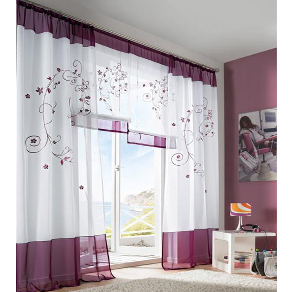 2016 Tulle Green Grey Purple Blackout Embroidery Curtains For Living Rooms Door Curtain Tab Top Tape In From Home Garden On