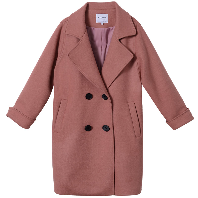 Mishow female overcoat 2018 new collection autumn winter solied long sleeve long Korean clothes Blends woolen jacket MX17C9632
