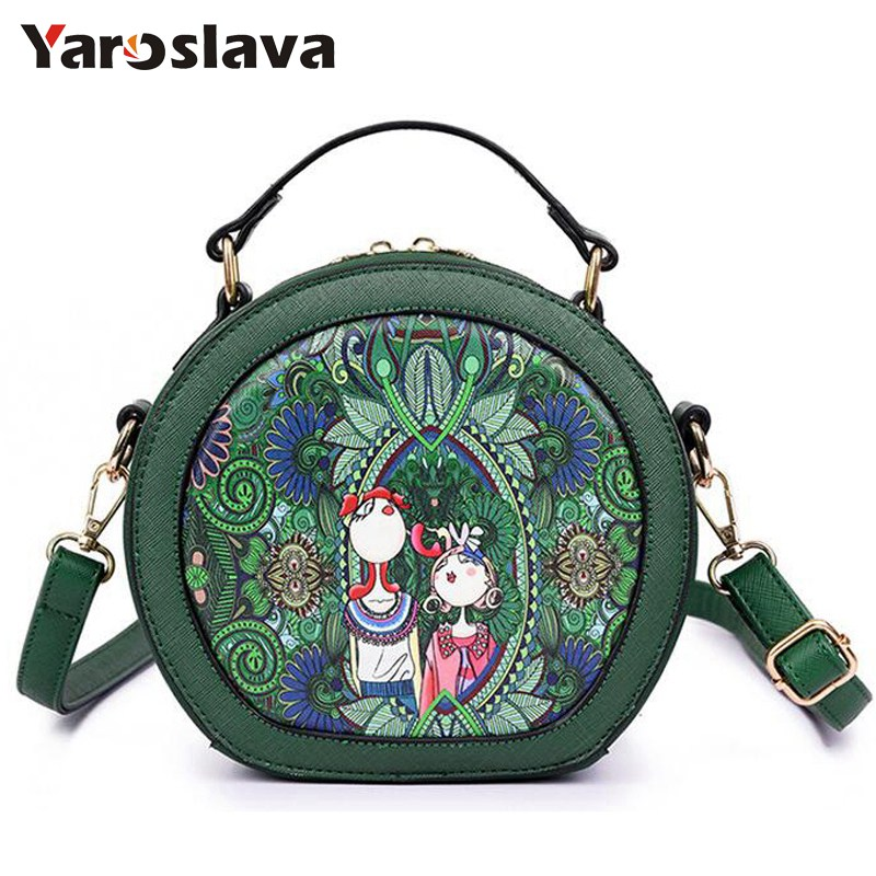 2018 New Style Women Mini Round Crossbody Bag Female Printing PU Leather Shoulder Bag Forest Green Girls Messenger Bag  LL364 round buckle lunch box bucket bag female 2018 new fashion messenger female shoulder bag