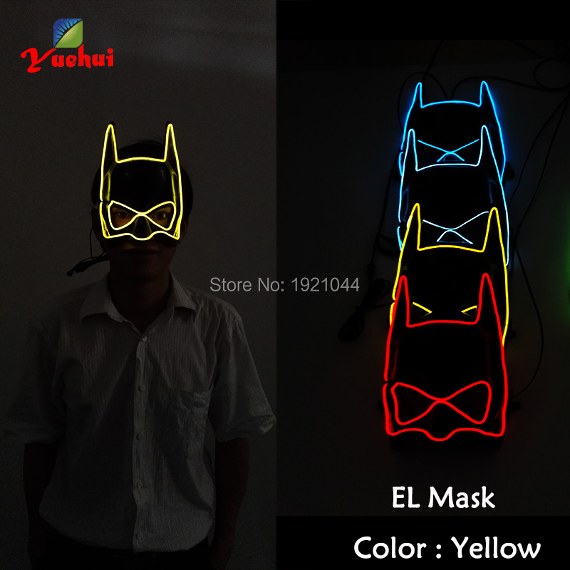 DC-3V Steady on Inverter Lighting Color Yellow Batman Cosplay Party Mask EL Wire Glowing Mask for Halloween Christmas Decoration