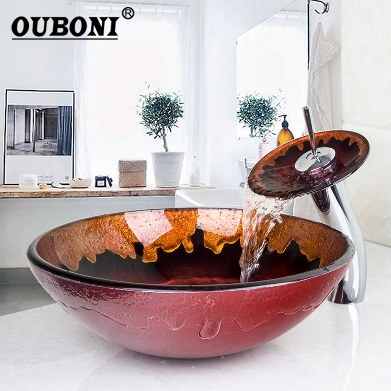 NEW Hand Painted Bathroom Tempered Glass Vessel Washbasin Fire Glass Sink With Brass Faucet Bathroom Glass Sink Sets countertop sink painting round bathroom faucet art washbasin tempered glass vessel sink with brass faucet sets