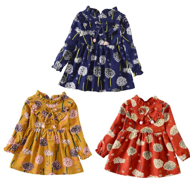 Новинка 2018 года, модное Повседневное платье из смешанного хлопка с длинными рукавами и цветочным принтом для маленьких девочек, одежда, сохраняющая тепло