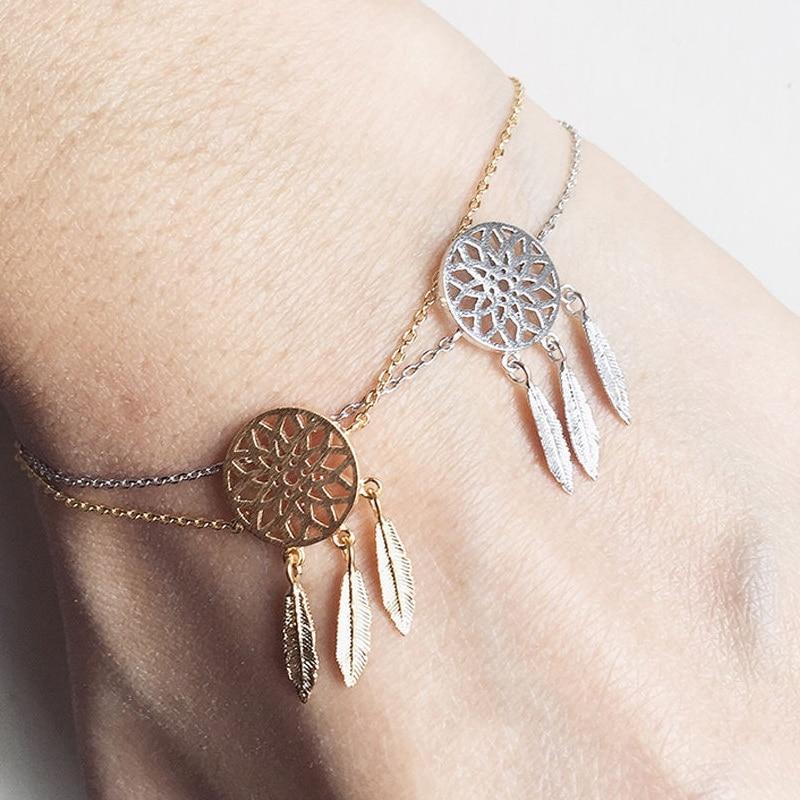 Pameng New Fashion Silver Color Dreamcatcher Charm Bracelets For Women Dream Catcher Jewelry Gold Color
