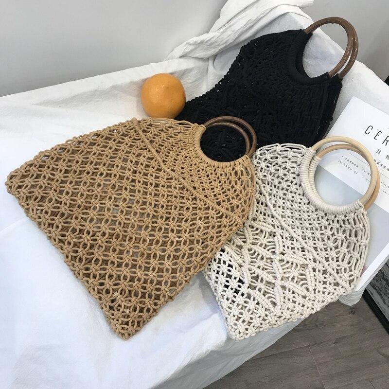 Kissyenia INS New Hot Rattan Bags Bohemia 100% Handmade Straw Handbags Millettia Handle Knitted Summer Tote Wicker Bags KS1207