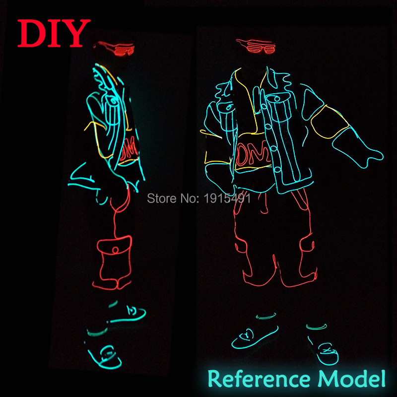 Robot Dance Lovely Colorful Led Bulbs Stage Performance Clothing Blinking EL Wire Light Up Fashion Show Costume for Easter Decor new arrival colorful neon led bulbs melbourne shuffle dance costume night lamp el wire bright ghost step suit for concert party