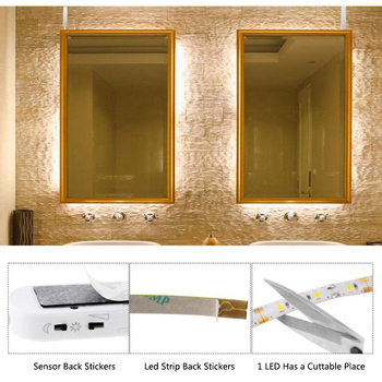 1/2/3M Wireless PIR Motion Sensor LED Night Light Belt Waterproof 60 LED Bed Cabinet Stairs Light USB LED Strip Lamp
