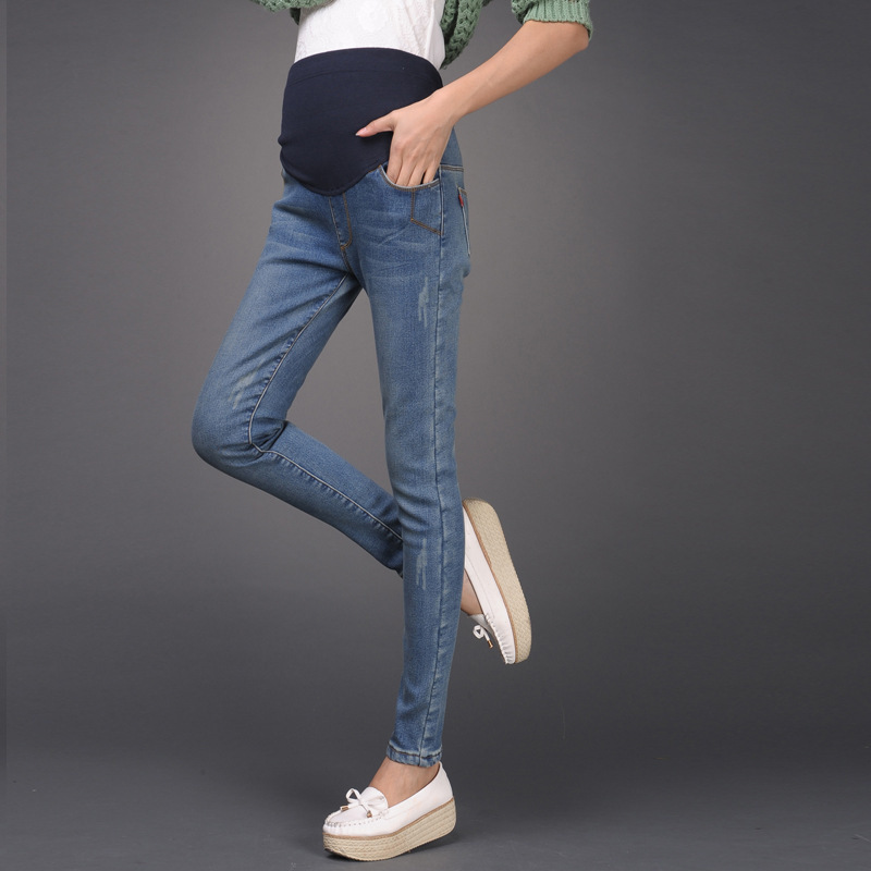 c4d9927a0d New Elastic Waist Cotton Maternity Jeans Pants winter Maternity Wear  Leggings for Pregnant woman plus size-in Jeans from Mother   Kids on  Aliexpress.com ...