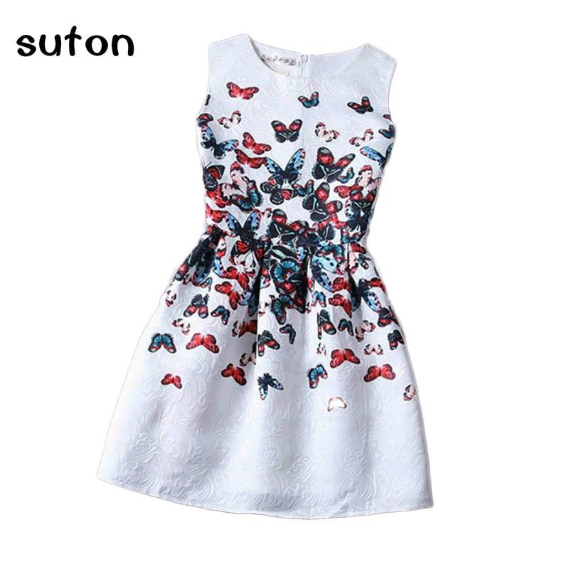 Cartoon Castle Summer Sleeveless Girls Print Dress Knee Length Princess A-Line Dress Clothes For Kids 6 to 12 years Old Kids girls dresses fruit design pineapple orange dress summer kids clothes flower print for kids age 5678910 11 12 13 14 years old