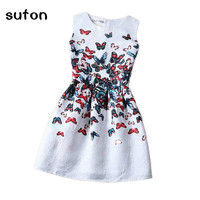 2016 New Summer Fashion Baby Girl Dress Butterfly Flower Printed Sleeveless Formal Party Dress Kids Clothes