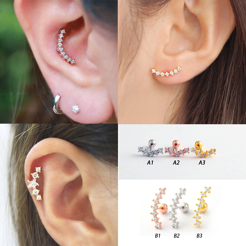 Stainless Steel Curved Cubic Zircon Bar Piercing Tragus Helix