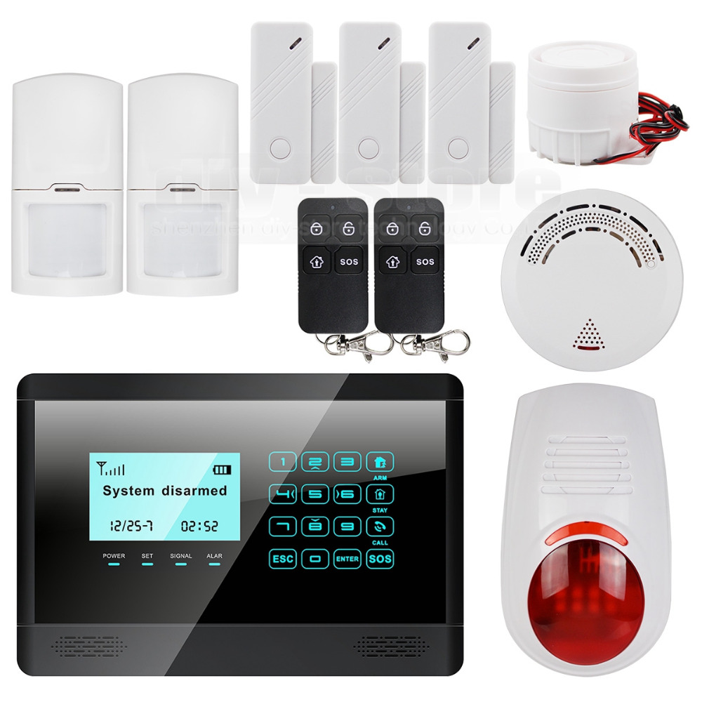 DIYSECUR 433MHz Wireless&Wired GSM Home Alarm System, Touch Panel, Flash Sensor, SMS Alerts, Smoke Sensor wireless smoke fire detector for wireless for touch keypad panel wifi gsm home security burglar voice alarm system