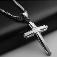 Free Shipping Mens Silver Stainless Steel Cross Pendant Necklace Charms Black Gold Necklaces Pendants Choker Men