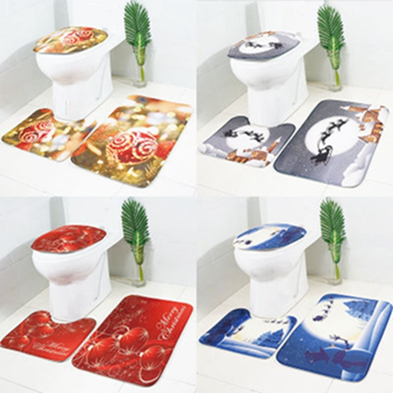 Christmas Toilet <font><b>Mat</b></font> Three-piece Christmas Snowman <font><b>Deer</b></font> Rug Carpet Set Non-slip <font><b>Bathroom</b></font> <font><b>Mat</b></font> Set Absorbent Pad image