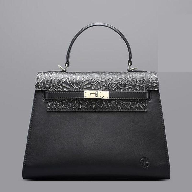 Genuine Leather handbag  Pmsix 2016 Fashion Chinese Embossed Shoulder Bag Leisure Messenger Bag Retro handbag