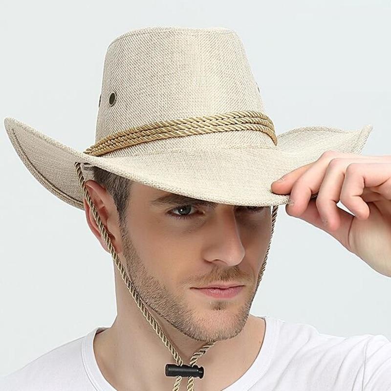American Western Cowboy Hat Man Summer Sun Protection Outdoor Sunshade Cap Male Jazz Travel Fishing Mountain Casual Hats H6788