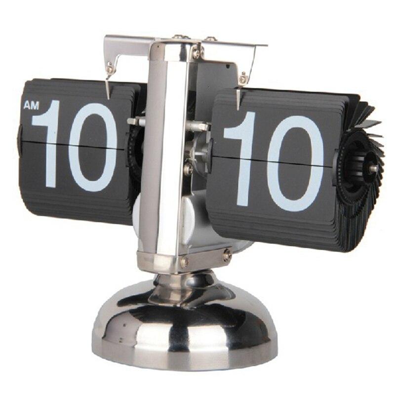Creative Auto numérique Quartz Page de retournement tournant à petite échelle Table horloge bureau mécanisme calendrier pour la décoration de la maison noir/blanc