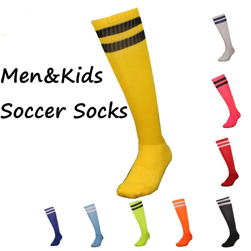 Men Kids Sport font b Football b font Soccer Socks 2 Stripes Above Knee Socks Long