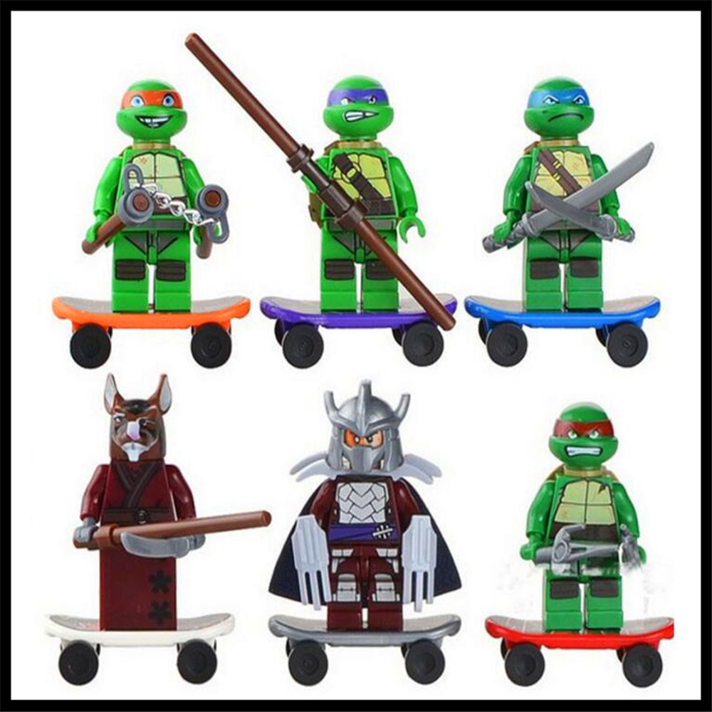 Ninjagoed 6PCS/Sets Ninjaed Heroes Figures Toys For Children Turtle  Building Blocks  NO BOX
