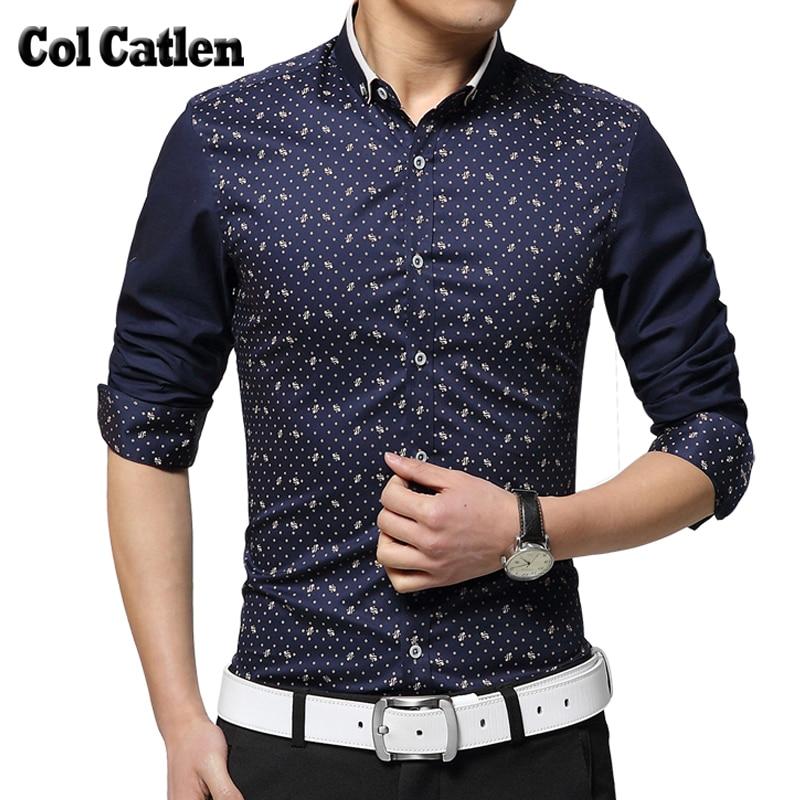 2018 Shirt Herrenmode Gedruckt Polka Dot Herrenhemden Baumwolle - Herrenbekleidung - Foto 1
