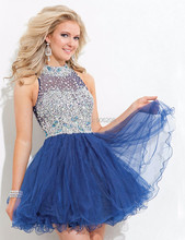 2015 mintgrün marineblau partykleid stehkragen puffy kristall cocktailkleid bling bling kurze aufgedunsen prom kleider