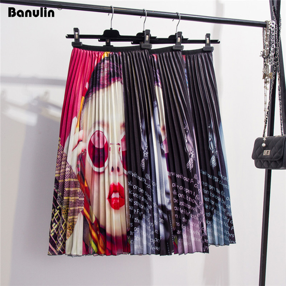 Banulin 2019 Spring Summer New-Coming Europen character Letter Printing High Elasticity Pleated High Street Style Women Skirts