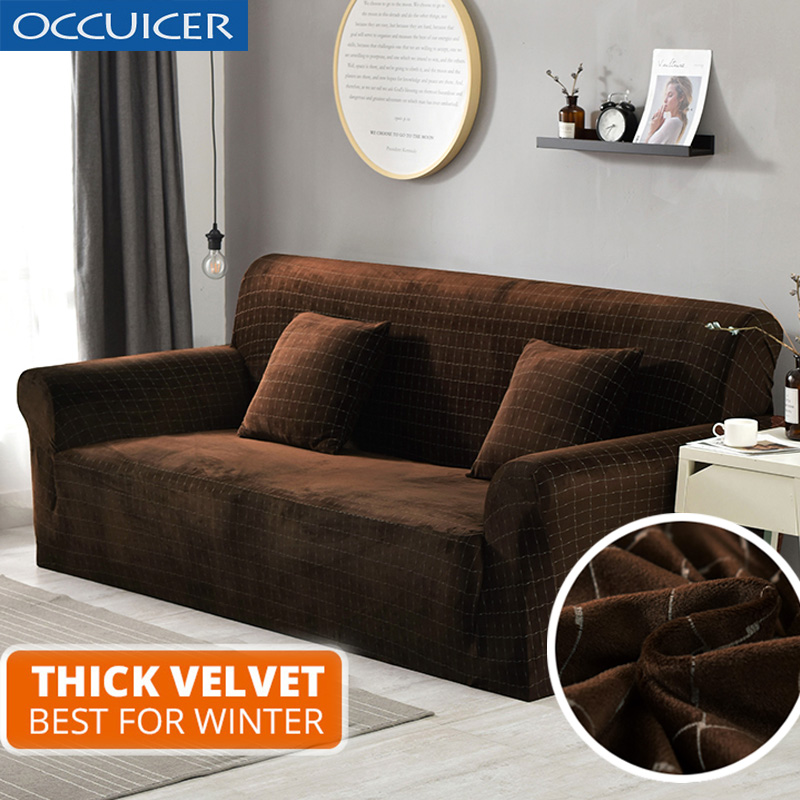 US $34.63 48% OFF|Plush fabric 1/2/3/4 Seat sofa cover couch cover Thick  Sofa Covers Elastic Furniture Slipcover Christmas home decoration velvet-in  ...