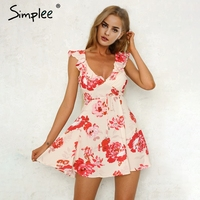 Simplee V Neck Print Backless Sexy Short Dress Women Ruffle Sleeveless Sash Summer Dress 2018 Beach