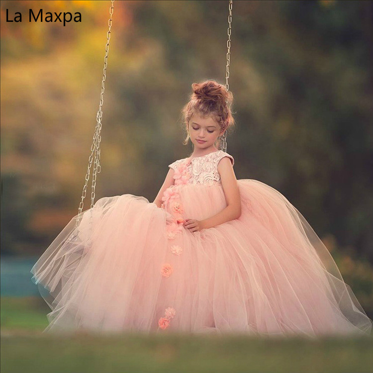 Children's Lace Pink Dress Lace Wedding Dress Baby Princess Tutu Long Dress Girls Birthday Dance Party Gifts Fashion Dress see thru mini lace dress