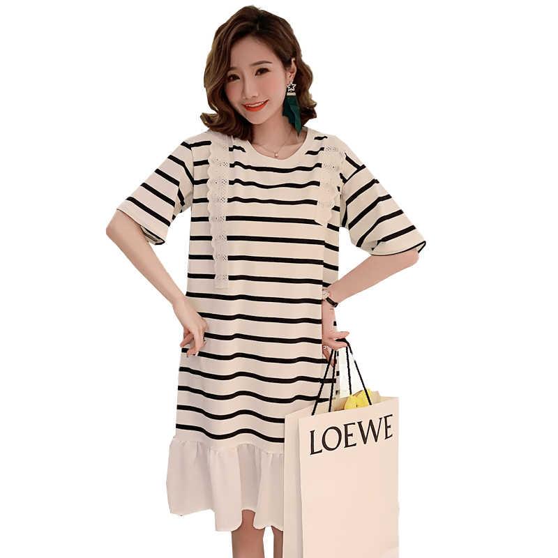 Летнее платье в Корейском стиле для беременных женщин кружевные хлопковые плетеные платья в полоску с оборками платье для беременных в консервативном стиле