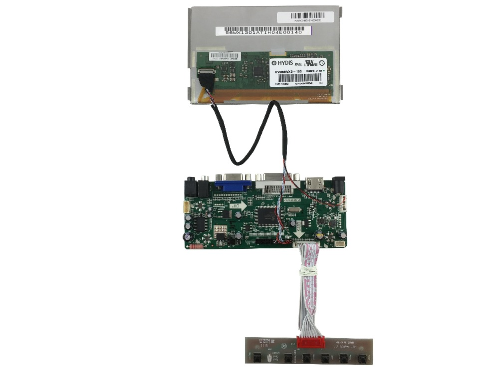 HDMI+DVI+VGA +Audio+  LCD driver board+HV056WX2-100(1280*800) +LVDS cable +OSD keypad with cable vga 2av revering driver board 8inch 800 600 lcd panel ej080na 05b at080tn52