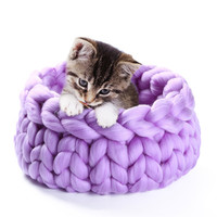 3 Colors Wool Cotton Large Soft Knitted Pet Dog Cat Warm House Bed Mat Pad Nest Winter Coarse Plush Cozy Pet Product F1019