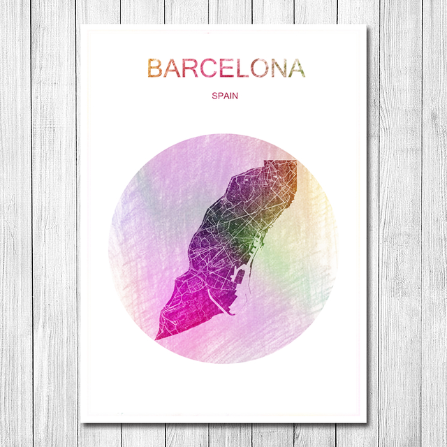 Beautiful World City Map Barcelona Vintage Retro Poster Krafts Paper ...