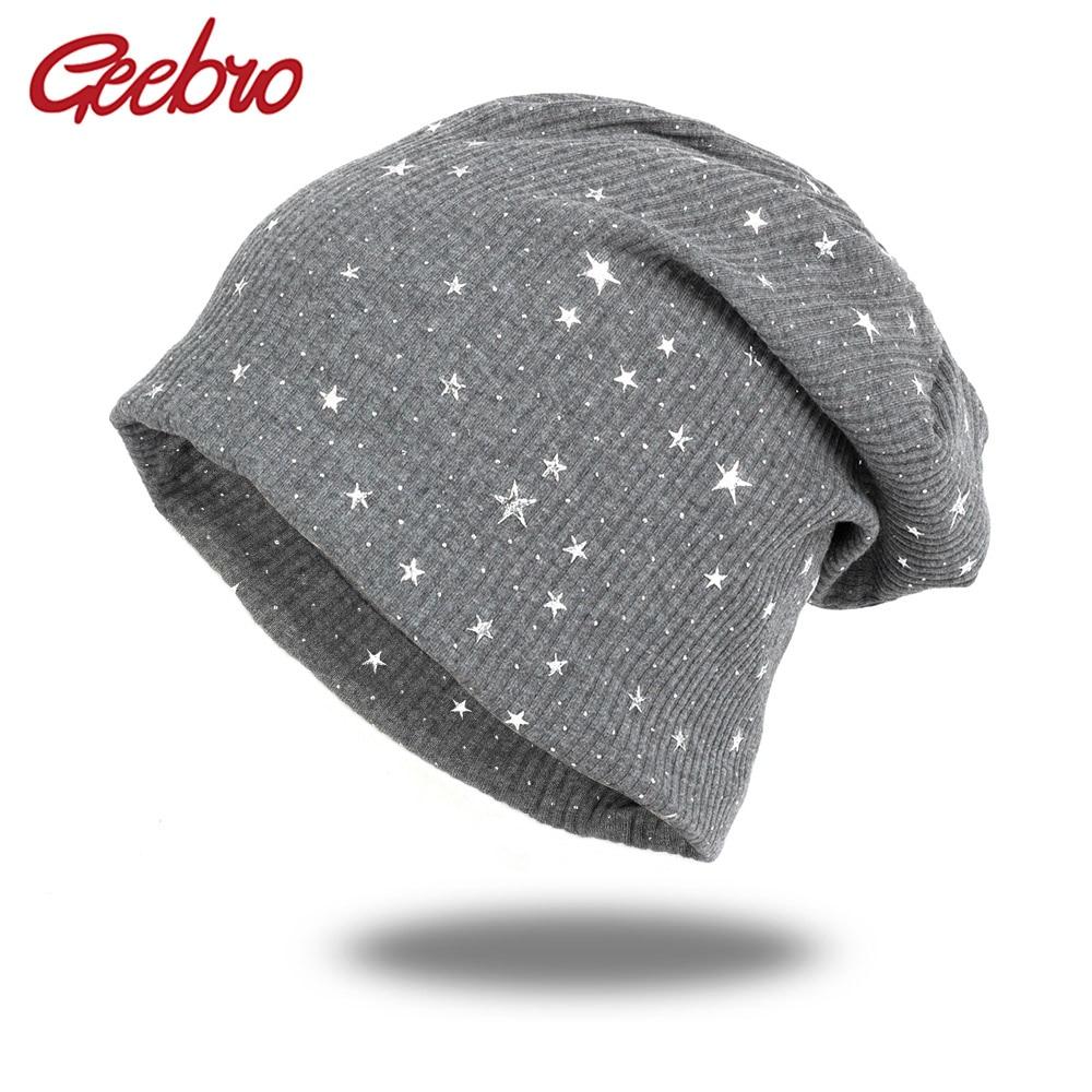 Geebro Fashion Ribbed Star Beanies For Women Man Casual Caps Female Cotton Slouchy Beanie Turban Wraps Striped Hats Bonnet DQ922