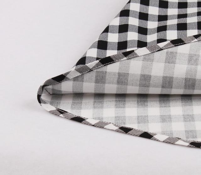 Short Sleeves Midi Dresses Casual Vintage Plaid  Retro Pleated Dress 5