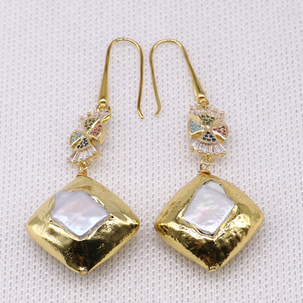 Fashion electroplate square pearls earrings elegant jewelry earrings Golden color earrings wholesale jewelry gift for lady4021