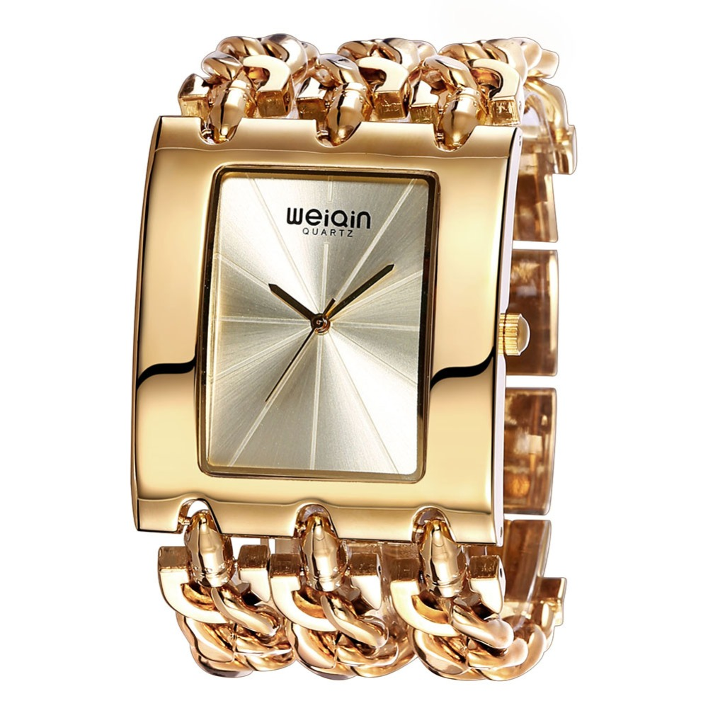 WEIQIN Gold Watch Women Big Dial Alloy Gold-Tone Link Bracelet Quartz Ladies Watch Clock Female orologio donna Relojes Mujer weiqin luxury gold wrist watch for women rhinestone crystal fashion ladies analog quartz watch reloj mujer clock female relogios