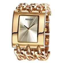 WEIQIN reloj de Oro Reloj de Las Mujeres Dial Grande de Aleación de Oro de Tono Pulsera Señoras Reloj de Cuarzo Reloj Femenino Relojes orologio donna Mujer