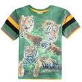 One piece baby boy t shirt para o menino de manga curta t camisa listrada da cópia do tigre o-pescoço roupa dos miúdos dos meninos camiseta novo 2015 C5959