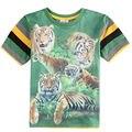 Una sola pieza del bebé camiseta para niño de manga corta t camisa de la impresión del tigre del o-cuello de rayas ropa de los cabritos muchachos camisetas nuevo 2015 C5959