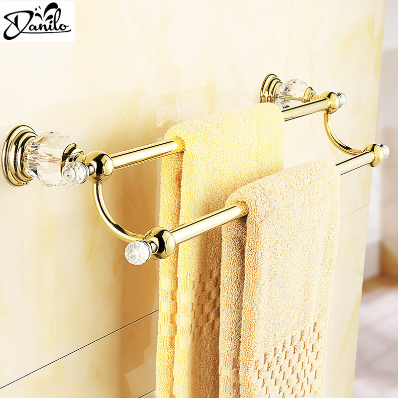 Gold European Style Crystal Brass Towel Bar Wall Mounted Towel Rail Double Bathroom Towel Holder